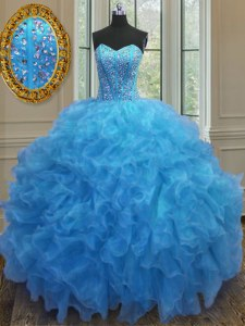 Baby Blue Sleeveless Organza Side Zipper 15th Birthday Dress for Military Ball and Sweet 16 and Quinceanera