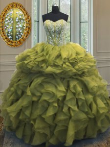 Super Olive Green Lace Up Sweetheart Beading and Ruffles Quince Ball Gowns Organza Sleeveless