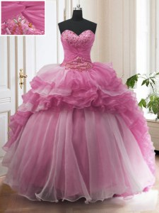 Deluxe Organza Sweetheart Sleeveless Sweep Train Lace Up Beading and Ruffled Layers Quinceanera Gowns in Rose Pink