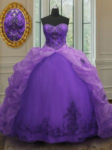 Captivating Purple Organza Lace Up Sweetheart Sleeveless With Train Sweet 16 Quinceanera Dress Court Train Beading and Appliques and Pick Ups
