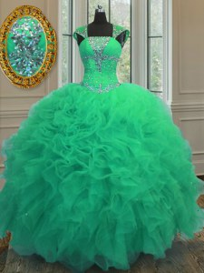 Straps Turquoise Cap Sleeves Beading and Ruffles and Sequins Floor Length Quinceanera Dresses