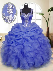 Floor Length Lavender Quinceanera Gown Organza Sleeveless Beading and Ruffles and Pick Ups