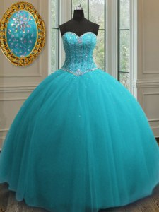Glamorous Aqua Blue Sleeveless Beading Floor Length Ball Gown Prom Dress