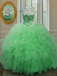 Designer Scoop Beading and Ruffles Quinceanera Gowns Green Lace Up Sleeveless Floor Length