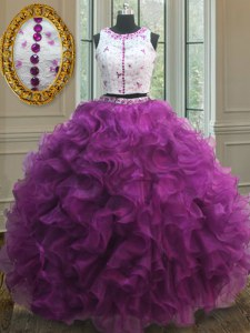 Scoop Sleeveless Appliques and Ruffles Clasp Handle Quinceanera Dresses