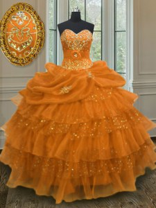 Orange Lace Up Quinceanera Gown Beading and Ruffled Layers and Pick Ups Sleeveless Floor Length