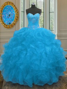 Romantic Organza Sleeveless 15th Birthday Dress and Beading and Ruffles