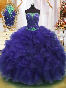 Latest Purple Sleeveless Organza Lace Up Sweet 16 Quinceanera Dress for Military Ball and Sweet 16 and Quinceanera