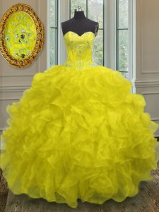 Yellow Sleeveless Organza Lace Up Quinceanera Dresses for Military Ball and Sweet 16 and Quinceanera