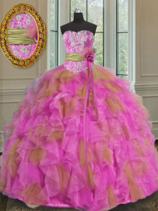 Multi-color Sweetheart Neckline Beading and Ruffles and Sashes ribbons 15 Quinceanera Dress Sleeveless Lace Up