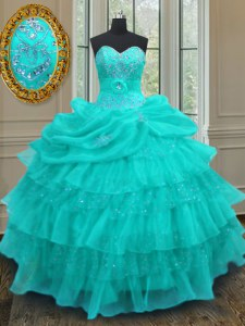 Adorable Aqua Blue Ball Gowns Beading and Ruffled Layers and Pick Ups Quince Ball Gowns Lace Up Organza Sleeveless Floor Length