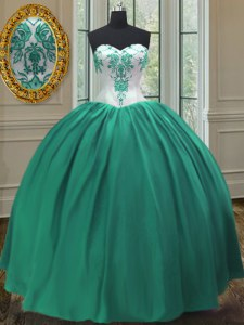 Gorgeous Taffeta Sleeveless Floor Length Quince Ball Gowns and Embroidery