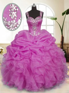 Lilac Ball Gowns Beading and Ruffles and Pick Ups Quinceanera Gown Zipper Organza Sleeveless Floor Length