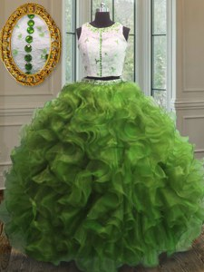 Glorious Green Ball Gowns Scoop Sleeveless Organza Floor Length Clasp Handle Appliques and Ruffles 15 Quinceanera Dress