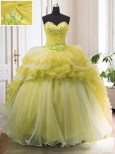 With Train Light Yellow Quinceanera Gowns Organza Court Train Sleeveless Beading and Ruffled Layers