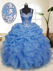 Beautiful Blue Straps Zipper Beading and Ruffles and Pick Ups Quinceanera Dress Sleeveless