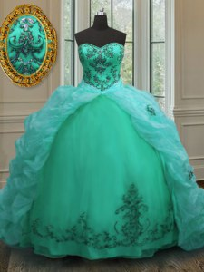 Lovely Turquoise Sleeveless Court Train Beading and Appliques and Pick Ups With Train Sweet 16 Dresses