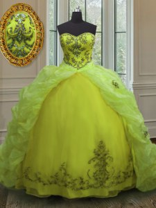 Yellow Green Ball Gowns Organza Sweetheart Sleeveless Beading and Appliques and Pick Ups With Train Lace Up Ball Gown Prom Dress Court Train