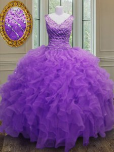Sophisticated Sleeveless Organza Floor Length Zipper Sweet 16 Dress in Purple with Beading and Ruffles