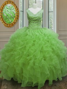 Flirting V-neck Sleeveless Organza Quinceanera Gowns Beading and Ruffles Zipper