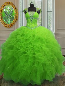 Chic Sequins Ball Gowns Quinceanera Gown Straps Organza Cap Sleeves Floor Length Lace Up