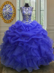 New Style Royal Blue Organza Lace Up Scoop Sleeveless Floor Length Quinceanera Dress Beading and Ruffles