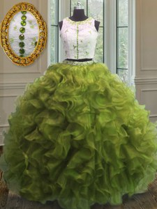 Clasp Handle Scoop Sleeveless Quince Ball Gowns Floor Length Appliques and Ruffles Olive Green Organza