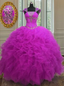 Deluxe Straps Sleeveless Floor Length Beading and Ruffles and Sequins Lace Up Vestidos de Quinceanera with Fuchsia