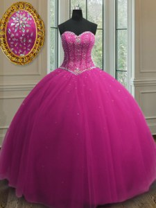 Fuchsia Ball Gowns Beading and Sequins Vestidos de Quinceanera Lace Up Tulle Sleeveless Floor Length