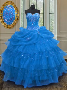 Exceptional Pick Ups Ruffled Ball Gowns Vestidos de Quinceanera Blue Sweetheart Organza Sleeveless Floor Length Lace Up
