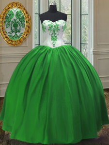 High End Sleeveless Floor Length Embroidery Lace Up Quince Ball Gowns with Green