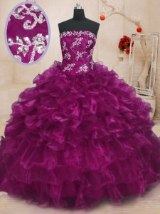 Beading and Appliques and Ruffles Quinceanera Dresses Fuchsia Lace Up Sleeveless Floor Length
