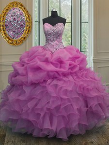 Pick Ups Sweetheart Sleeveless Lace Up Quinceanera Gowns Lilac Organza