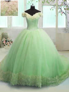 Off The Shoulder Short Sleeves Sweet 16 Dresses With Train Court Train Hand Made Flower Apple Green Organza