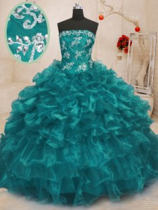 Custom Designed Turquoise Organza Lace Up Strapless Sleeveless Floor Length 15th Birthday Dress Beading and Appliques and Ruffles
