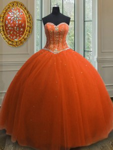 Great Orange Red Lace Up 15 Quinceanera Dress Beading and Sequins Sleeveless Floor Length