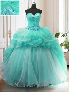 Super Organza Sweetheart Sleeveless Sweep Train Lace Up Beading and Ruffles Sweet 16 Dress in Turquoise
