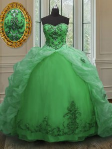 Amazing Green Ball Gowns Beading and Appliques and Pick Ups Sweet 16 Dresses Lace Up Organza Sleeveless With Train