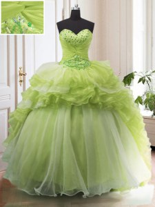 Yellow Green Ball Gowns Beading and Ruffled Layers Quinceanera Dresses Lace Up Organza Sleeveless With Train