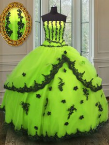 Fashionable Ball Gowns 15 Quinceanera Dress Yellow Green Strapless Tulle Sleeveless Floor Length Lace Up