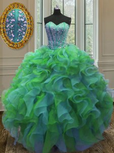 Inexpensive Multi-color Sweetheart Lace Up Beading and Ruffles Quinceanera Gowns Sleeveless