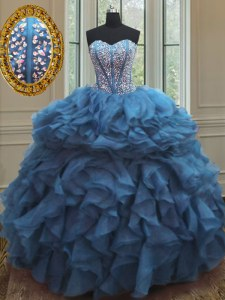 Ideal Sleeveless Beading and Ruffles Lace Up Vestidos de Quinceanera