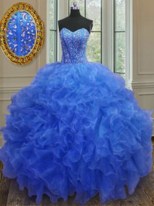 Hot Sale Beading and Ruffles 15 Quinceanera Dress Blue Lace Up Sleeveless Floor Length