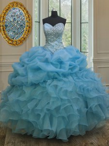Custom Fit Pick Ups Baby Blue Sleeveless Organza Lace Up Quinceanera Gowns for Military Ball and Sweet 16 and Quinceanera