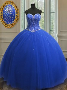 Great Royal Blue Sleeveless Beading and Sequins Floor Length Quinceanera Dress
