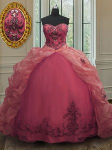 Clearance Pink Ball Gowns Organza Sweetheart Sleeveless Beading and Appliques and Pick Ups With Train Lace Up Quince Ball Gowns Court Train
