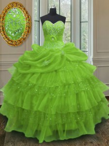 Sweetheart Sleeveless Organza 15 Quinceanera Dress Beading and Ruffled Layers and Pick Ups Lace Up