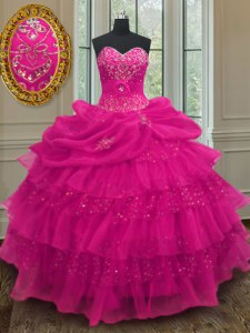 Sleeveless Lace Up Floor Length Beading and Ruffled Layers and Sequins and Pick Ups Sweet 16 Dresses