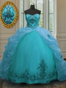 Aqua Blue Quinceanera Dress Military Ball and Sweet 16 and Quinceanera and For with Beading and Appliques and Pick Ups Sweetheart Sleeveless Court Train Lace Up