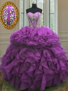 Purple Sweetheart Lace Up Beading and Ruffles Quinceanera Gowns Sleeveless